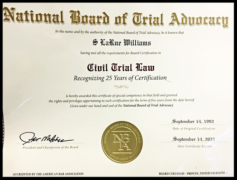 S Larue Williams Recognized By The National Board Of Trial Advocacy