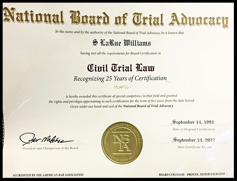 S. LaRue Williams Recognized by The National Board of Trial Advocacy